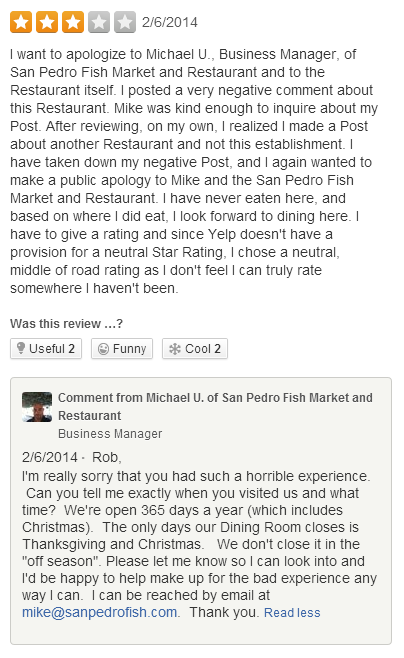 Yelp review owner response 2018 2019 2020 ford cars for San pedro fish market prices